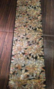 川島袋帯黒地花柄全体