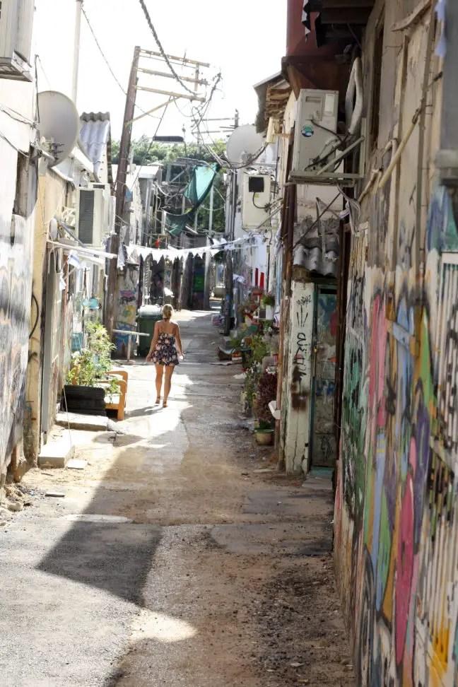 Een streetart-straatje in Tel Aviv