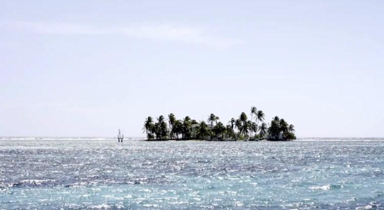 Eiland vol palmbomen gezien vanaf de Raggamuffin catamaran