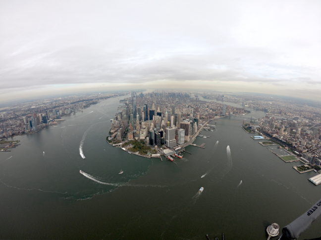Manhattan, New York, vanuit de helikopter.