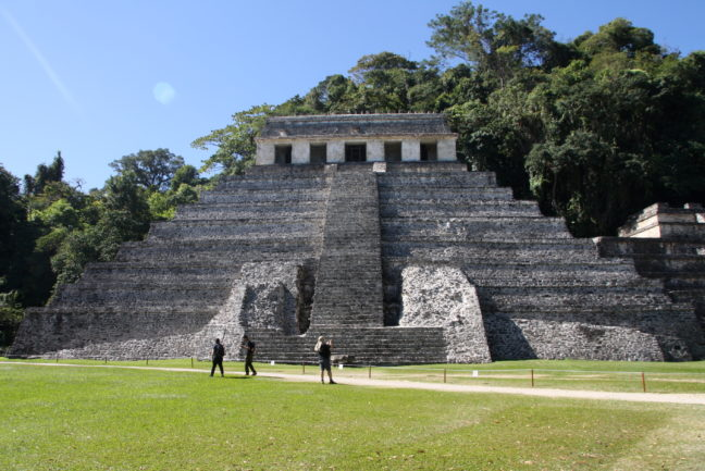 In Palenque staan de tempels middenin de jungle