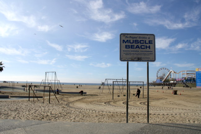 Muscle Beach in Santa Monica, niet de echte dus.