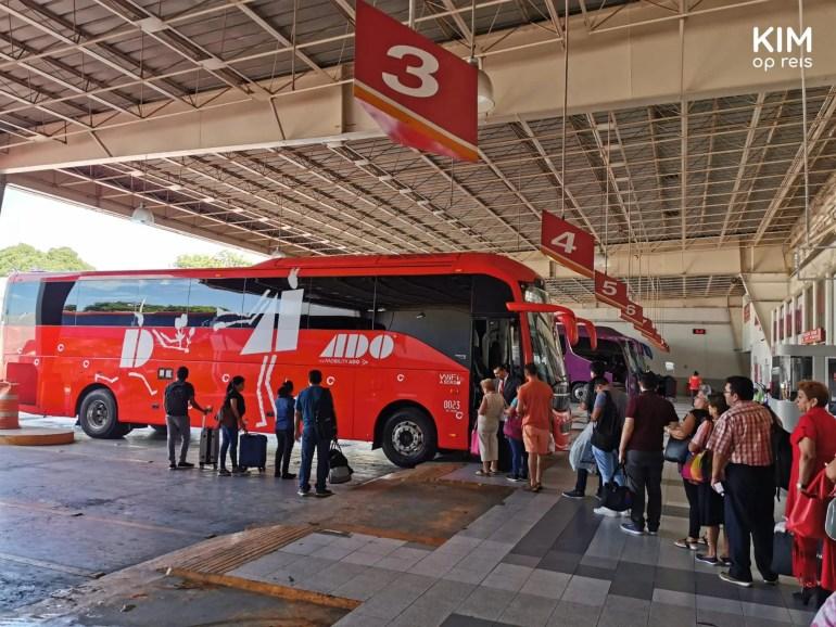 ADO bus Mérida: busstation in Mérida met mensen in de rij voor een rode ADO bus