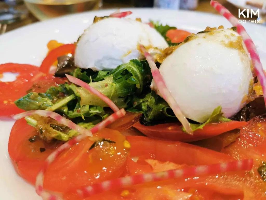Chez Felix Troyes burrata: salade van burrata en tomaat
