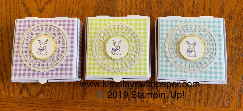 Stampin' Up!, Mini Pizza Boxes, Gingham Gala Designer Series Paper, A Good Day, Pearlized Doilies