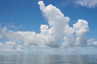 ocean, clouds, paddle board