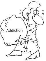 Woman carry rock addiction