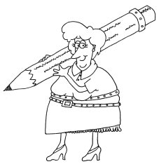 woman with large pencil
