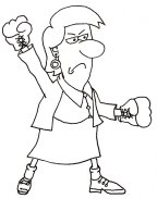 Woman with boxing gloves beating OCD