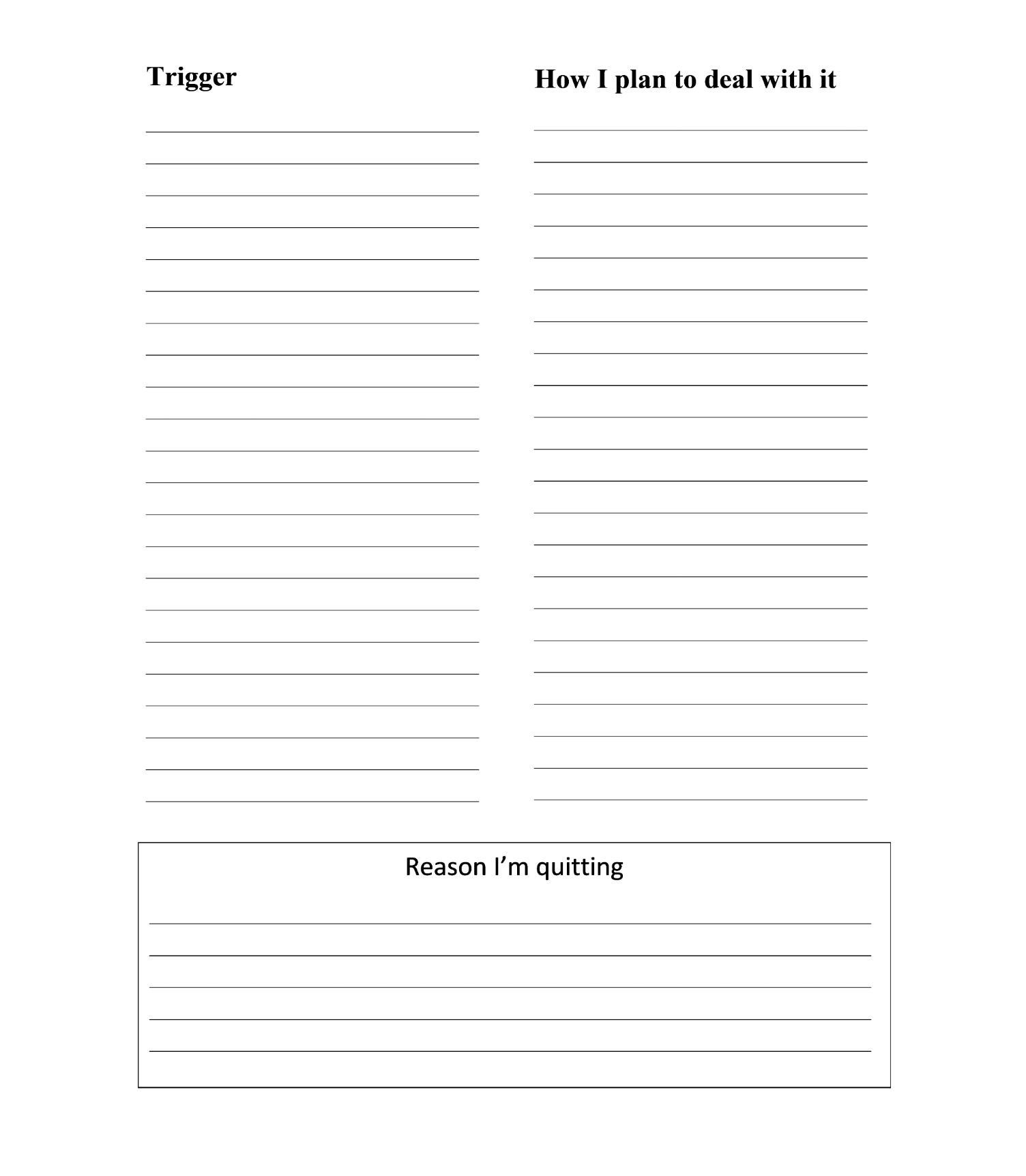 Worksheet How To Quit Drugs And Alcohol