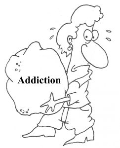 """cartoon woman that's carrying huge rock that says """"addiction"""""""