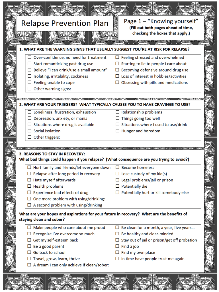 relapse prevention plan page 1