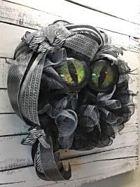 Halloween Wreath, Halloween Door Wreath, Halloween Cat ...