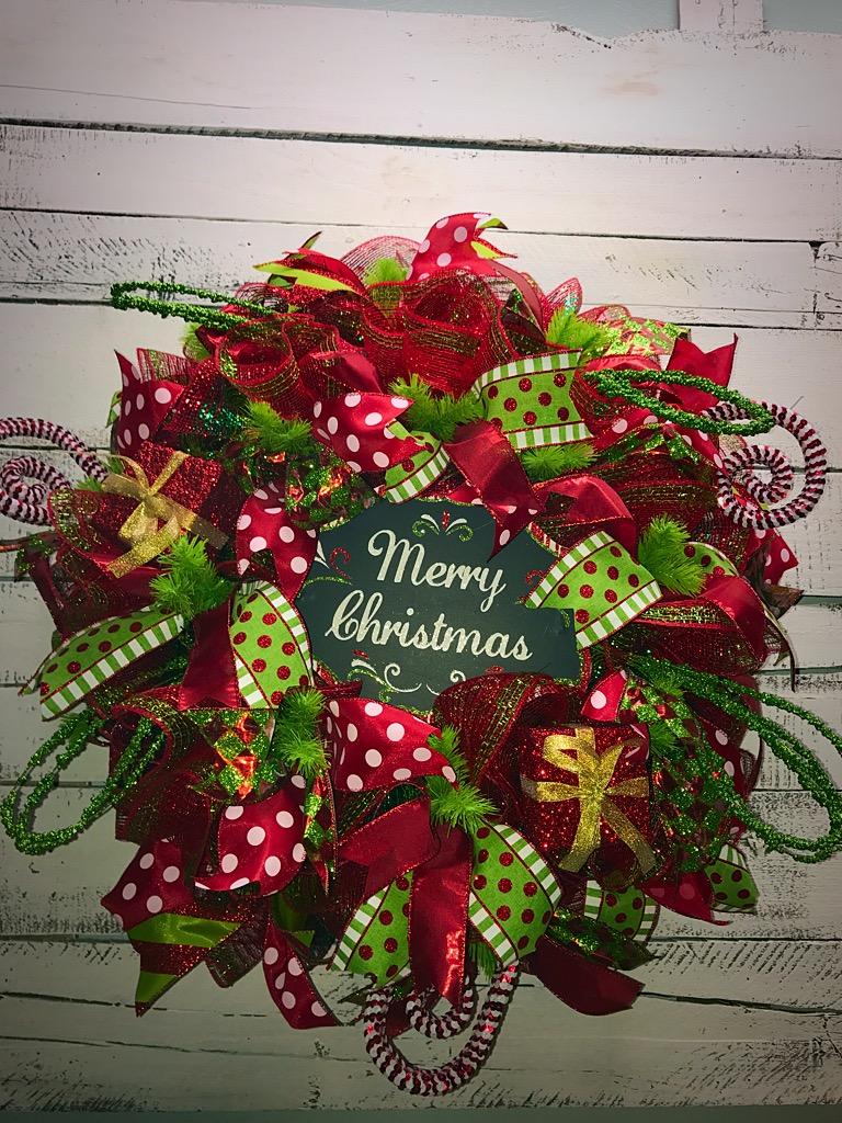 Christmas Wreath Merry Christmas Deco Mesh Wreath Red