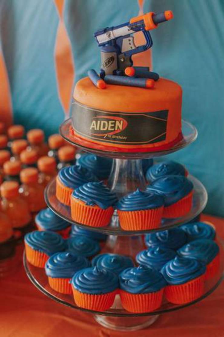 Nerf Cake and Nerf Gun Cupcake  Easy  Simple Ideas