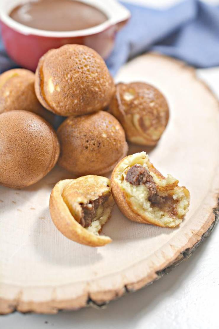 Keto Nutella Stuffed Pancake Bites