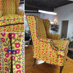 u shaped chair slipcovers blue recliner making a slipcover diy for sofa or kim s upholstery wing k nicholas fabric