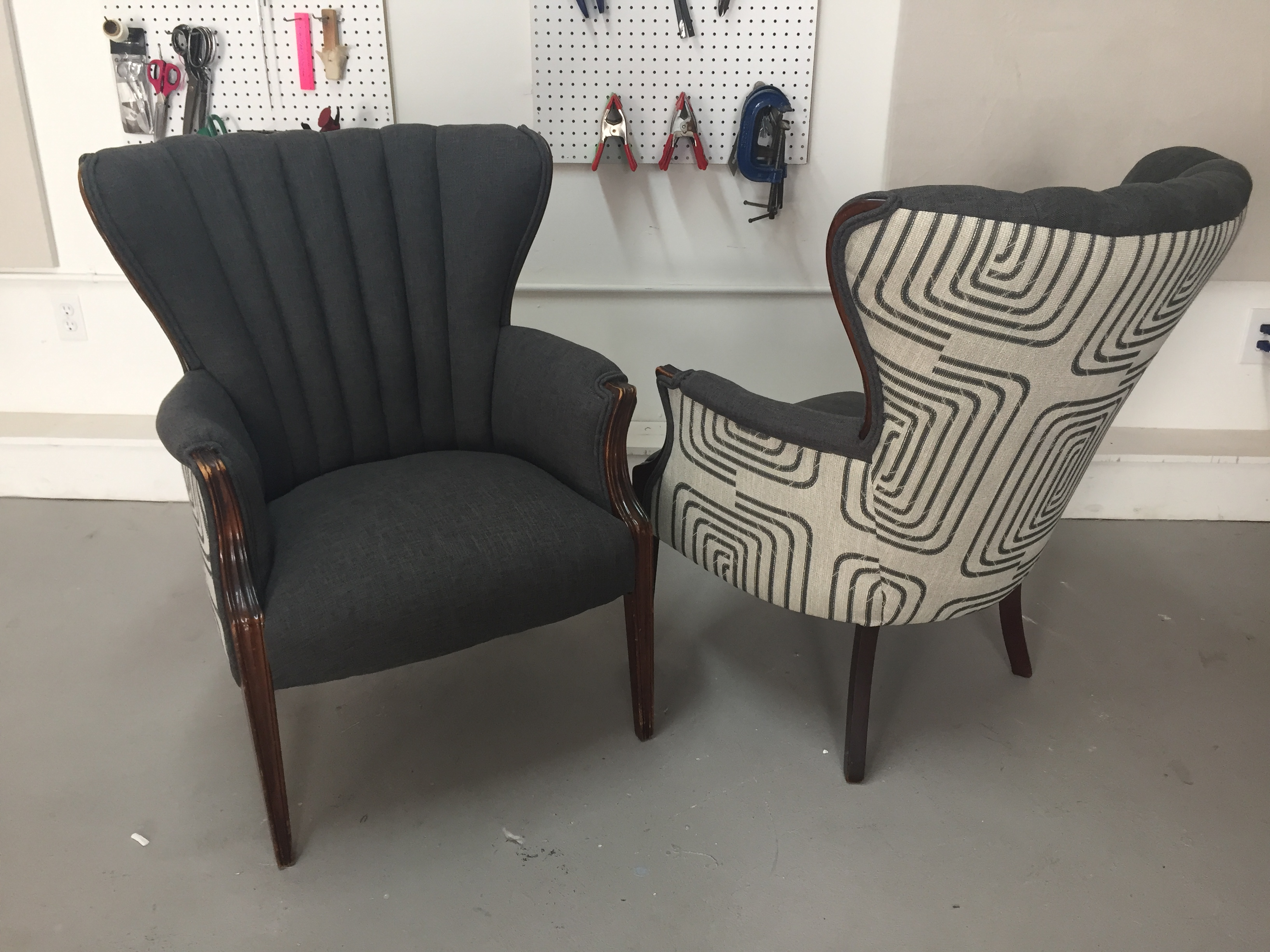 upholstering a chair wicker outdoor cushions pair of vintage chairs kim 39s upholstery