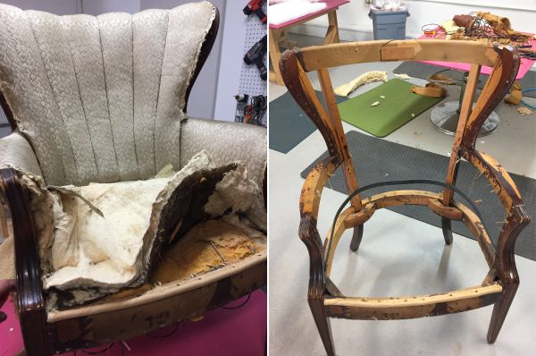 where to get chairs reupholstered gym quality roman chair is it worth the cost reupholster a kim s upholstery tear down dirty job but necessary in process of reupholstering
