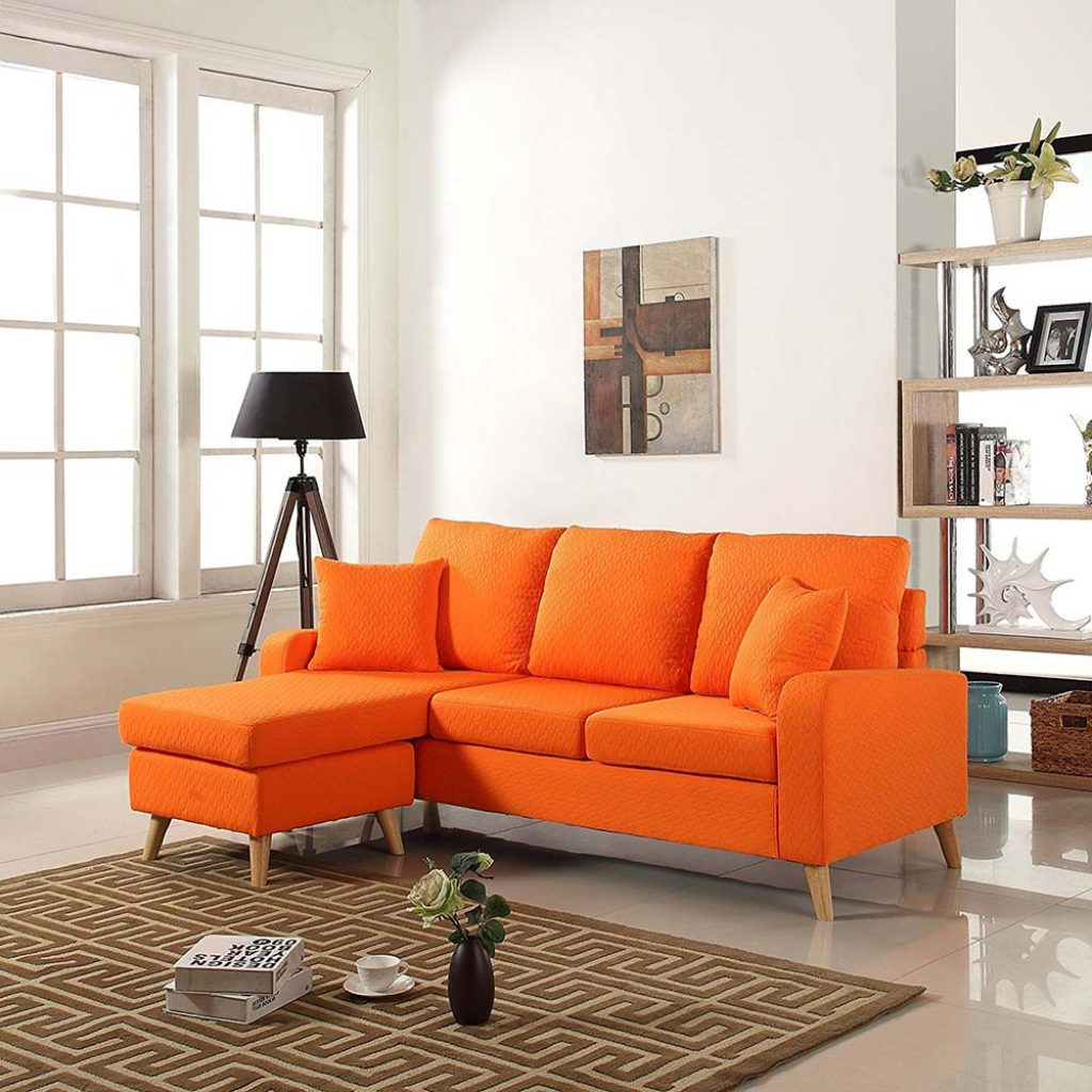 sofa bed color orange floor sofas india sectional with chaise  kims warehouse