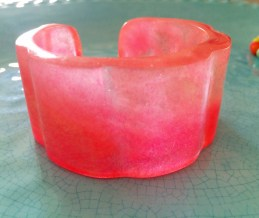 Neon Pink & Pearl Resin Bangle By Kim Taitano