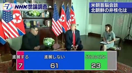 북미정상회담 비핵화 NHK 2월 여론조사 아베 지지율 44%, 북미정상회담 61% 기대안해