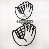 Ball Glove Outline Baseball Softball Embroidery Design