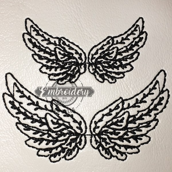 Wings Embroidery Baseball Softball Design