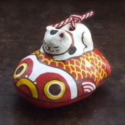 猫ときんとと土鈴 Claybell of Cat and goldfish