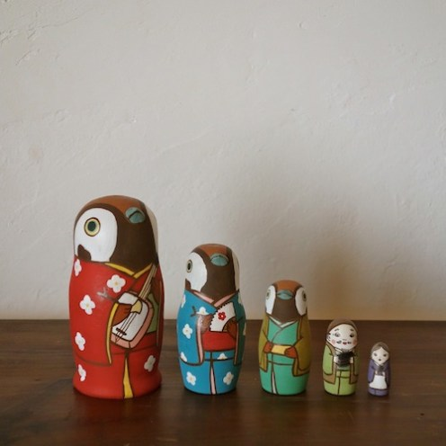 MM5-4 Matryoshka 5sets 舌きり雀 The Sparrow's Tongue  Size:11.5cm/Material: wood  ¥9,500+Tax