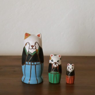 MS3-5 Matryoshka 3sets 三猫 Three wise cat  Size:7cm/Material: wood  ¥6,500+Tax