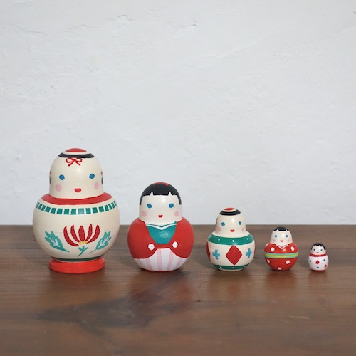 MSD5-1 Matryoshka 5sets こけし Kokeshi  Size:7.5cm/Material: wood  ¥8,500+Tax