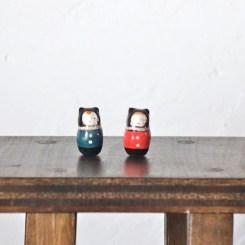 黒猫王子のフェーブ  Feve of Black Cat Prince  黒猫姫のフェーブ  Feve of Black Cat Princess  Size:1.0×1.0×2.2cm/Materials:porcelain/glossy type  ¥700+Tax  FEVES-81王子 FEVES-82姫