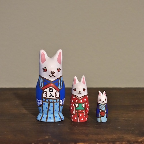 MS3-19 MATRYOSHKA 3sets おねがいウサギ Matchmaker Rabbits  Size:7cm/Material: wood  ¥6,500+Tax