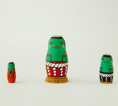 MS3-8 Matryoshka 3sets 相撲河童 Sumo Kappa  Size:7cm/Material: wood  ¥6,500+Tax