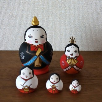 MLD5-2 Matryoshka 5sets 雛 Hinadoll  Size:H12cm/wood , metal , stone powder clay  ¥15,000+Tax