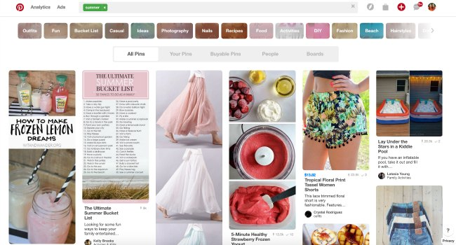 Summer topics and trends to watch on Pinterest with Pins