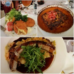 Cambrinus - cheese croquette, lasagna and sausage and mash