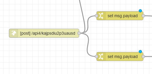 Example HTTP in node with two change nodes attached