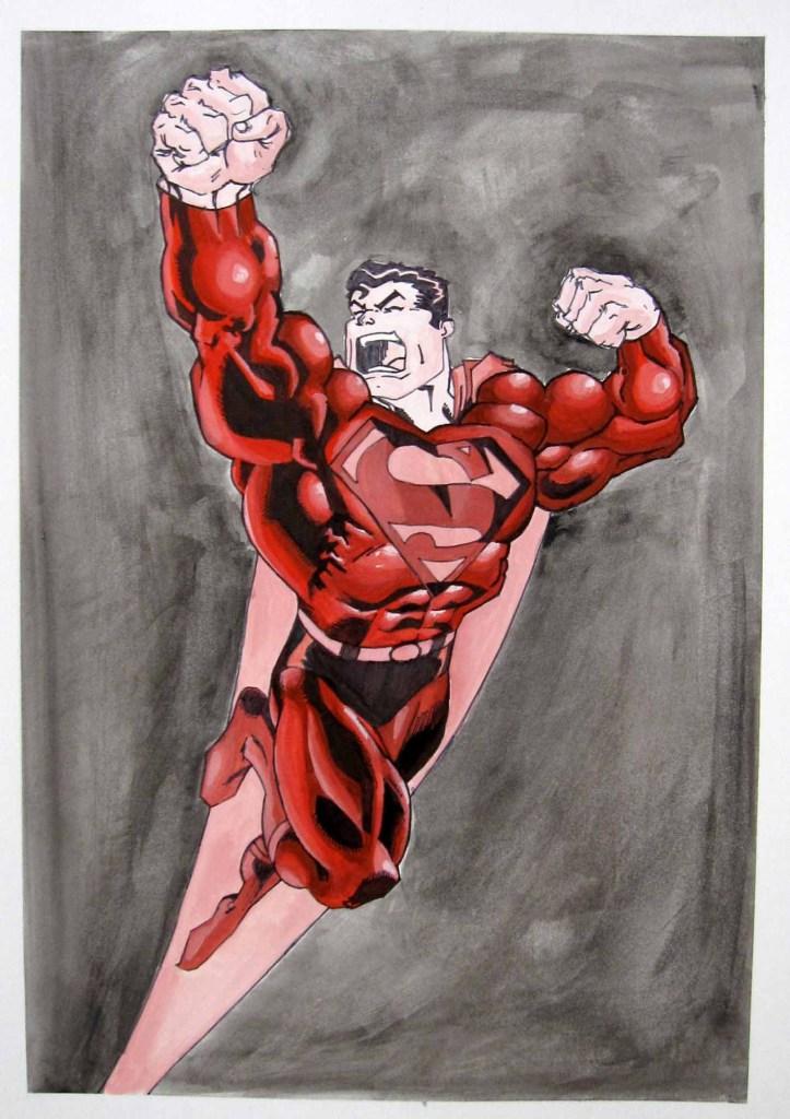 Superman Gouache Painting