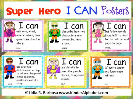Super Hero I Can Posters on Fair Sharing Kindergarten Worksheets
