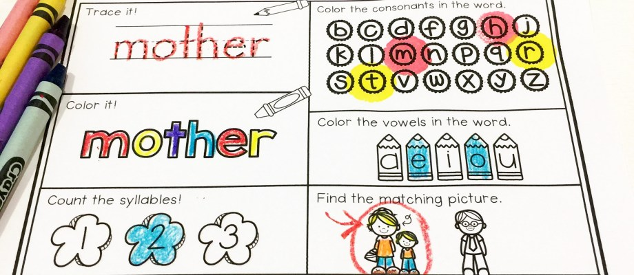 Mother's Day Word Work Printables