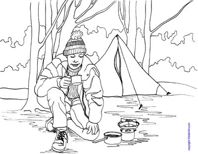 Camping Coloring Page