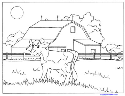Farm and Baby Animals Coloring Pages. Cows, Horses, Ducks