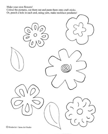 Make Your Own Flowers Printable for Kids. KinderArt.com