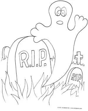 Halloween Ghost in Graveyard Coloring Page