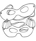 Halloween Masquerade Masks Coloring Page from KinderArt.com