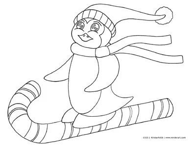 Skiing Penguin Coloring Page. Printable Pages from