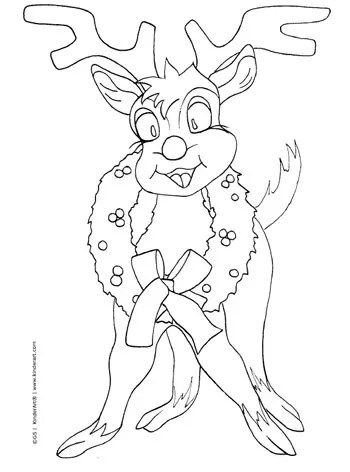 Cartoon Reindeer with a Wreath Coloring Page. Printable