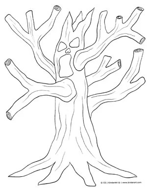 Spooky Tree Coloring Page